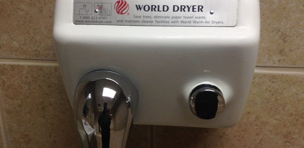 Hot-air dryers suck in nasty bathroom bacteria and shoot them at your hands