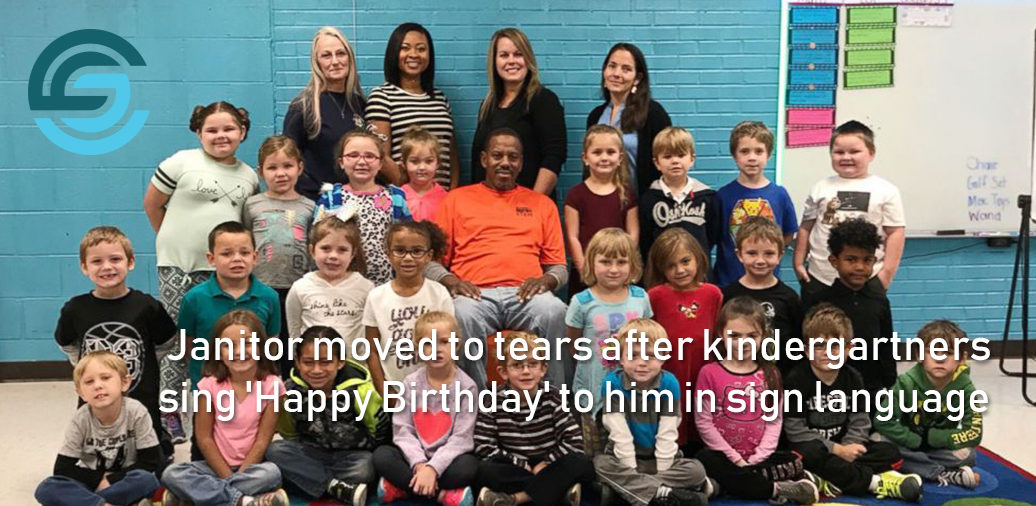Janitor moved to tears after kindergartners sing 'Happy Birthday' to him in sign language